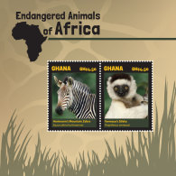 GHANA 2014 ** Endangered Animals Monkeys Affen S/S - OFFICIAL ISSUE - DH9999 - Affen