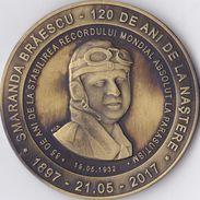Romania, 2017, Aeromfila Exhibition, 120 Anniversary Of Smaranda Braescu (Skydiving / Parachutism) - Plaque / Desk Medal - Unclassified