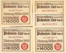 """Deutschland, Germany - 5 X """" REICHSLOTTERIE """", ORIGINAL - PRÄMIENSCHEIN, 1940 ! - Lotterielose"""