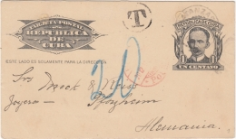 1904-EP-110 CUBA REPUBLICA. 1904. Ed.70. 1c SPECIAL DELIVERY CARD TO GERMANY. POSTAGE DUE1914. - Lettres & Documents