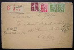 1938  Salviac (Lot) Lettre Recommandée Pour Cahors, Voir Photos - 1921-1960: Periodo Moderno