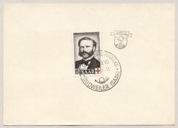 Saarland - 1953 - 15+5 Fr Henri Dunant 1st Day Dudweiler On Card - No Address - 1947-56 Gealieerde Bezetting