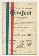PEUGEOT CATALOGUE PUBLICITE TARIF 1935 AUTOMOBILES VOITURES TOURISME ET MIXTES VEHICULES UTILITAIRES - Publicités