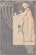 Art Nouveau - Femme Jouant De La Harpe - Carte Gauffrée En Relief - DRP Angemeldet - Kirchner, Raphael