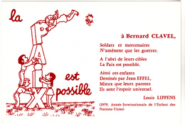 EFFEL Jean  Ed Elan Cartopaix - La Paix Est Possible  - CPM 10,5x15  BE 1979  Neuve - Effel
