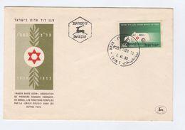 1955 Kfar Vitkin ISRAEL  FDC Stamps AMBULANCE Magen David Adom RED CROSS Cover Health Medicine - Medicine