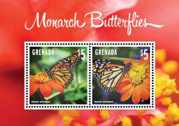 GRENADA 2014 ** Monarch Butterflies Schmetterlinge S/S I - OFFICIAL ISSUE - DH9999 - Schmetterlinge