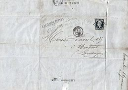 "FACTURE-LETTRE""MANUFACTURES CIERGES&BOUGIES LACOMBE""LIBOURNE + TIMBRE NAPOLEON 3 - Oude Documenten"