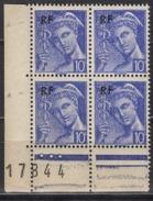FRANCE 1944 - BLOC DE 4 TP  Y.T. N° 657 COIN DE FEUILLE  - NEUFS** /Y65 - France
