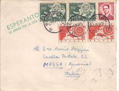 "ESPERANTO - ""LA LINGVO......................"",BELGIQUE,SCHOTEN,-MASSA,ITALIA, 1954, - Esperanto"