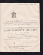 VILLERS-L'EVEQUE Marie-Henriette RENWART  1806-1876 Veuve BOUFFLETTE Inspecteur Cantonal Retraité Faire-part Décès - Esquela