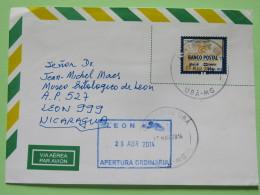 Brazil 2014 Cover Uba To Nicaragua - Postal Bank - Brazil