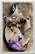 CPA Avec Des Perles En Relief + Brillants + Tissu + Cheveux Artiste De VERE Circulé - Altri