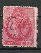 MONTSERRAT 1885 Inland Revenue 1 Peny Queen Victoria Stempelmarke Michel 1 O - Montserrat