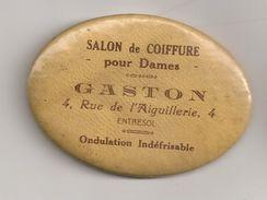 Miroir Publicitaire Ovale, De Sac Ou De Courtoisie. Salon De Coiffure Pour Dames. Gaston 4 Rue De L'aiguillerie à Angers - Other