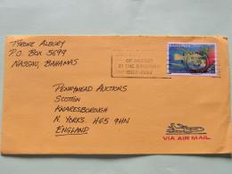 Bahamas 1987 Cover Nassau To England - Fish Angelfish (Scott #613 = 2.75 $) - Bahamas (1973-...)