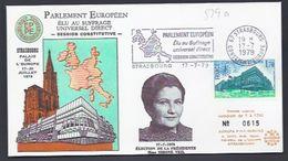 17.7.1979 SIMONE VEIL ELECTION PRESIDENTE PALAIS DE L´EUROPE EUROPA PARLAMENT TIRAGE LIMITE NUMEROTE FDC STRASBOURG - Lettres & Documents