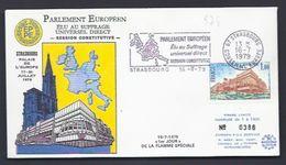 16.7.1979 1er JOUR FLAMME SIMONE VEIL PRESIDENTE PALAIS EUROPE PARLAMENT EUROPARAT TIRAGE LIMITE NUMEROTE - Lettres & Documents