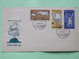 Czechoslovakia 1962 FDC Cover Animals Birds Heron Horses Camel Monkey - Czechoslovakia