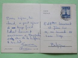 """Romania 1968 Postcard """"""""coast Beach Ship Fishing"""""""" To Belgium - Television Tower - Covers & Documents"""