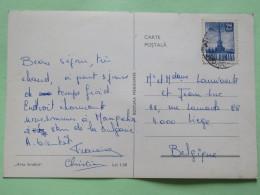 "Romania 1968 Postcard """"coast Beach Ship Fishing"""" To Belgium - Television Tower - 1948-.... Republics"