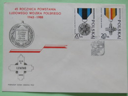 Poland 1988 FDC Cover - Medals - World War II - 1944-.... Republic