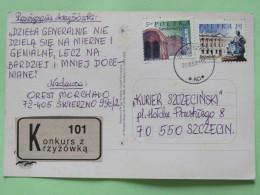 """Poland 2007 Postcard """"""""Miedzywodzie - Beach Bikini"""""""" To Szczecin - Palace Statue Church - 1944-.... Republic"""