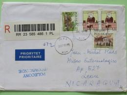 Poland 2009 Registered Cover Pila To Nicaragua - Zodic - House Castle - 1944-.... Republic