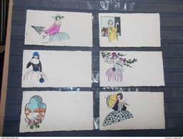 SERIE 6 CPA Genre Aquarellées FEMMES MIDINETTES OMBRELLE Parapluie Chapeaux Fleurs Signature Illustrateur Illisisble - Otros Ilustradores