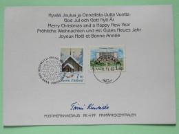 "Finland + Aland 1989 FDC Greetings Postcard """"landscape Under Snow"""" Helsinki + Mariehamn - Birds House Under Snow - Aland"
