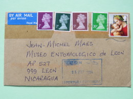 Great Britain 2014 Cover To Nicaragua - Machin - Queen - Christmas - Covers & Documents