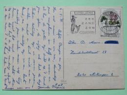 """Belgium 1975 Postcard """"""""sand Beach"""""""" Middelkerke Slogan With Mermaid To Antwerpen - Flower - Belgium"""