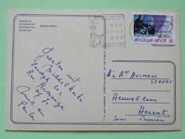 """Belgium 1985 Postcard """"""""Middlekerke Beach Church Horses"""""""" Slogan With Mermaid To Herent - Music Piano - Belgium"""