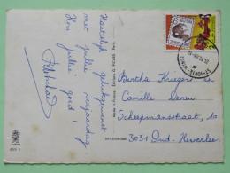 """Belgium 1988 Postcard """"""""flowers"""""""" St. Joris Winge To Heverlee - Comics Squirrel Bellboy - Belgium"""