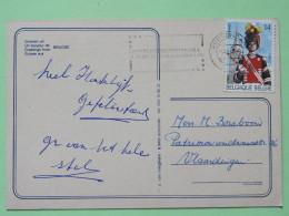 """Belgium 1990 Postcard """"""""Brugge - Lace Swan Bridges"""""""" Roosendaal To Vlaardingen - Gerpinnes - Church Uniform Tambor-major - Belgium"""