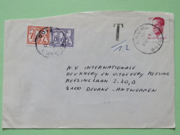 Belgium 1990 Cover Lauwe To Antwerpen - King - Tax Cancel And Due Stamps - Lions - Belgium