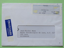 France 2010 Cover Tavaux To Nicaragua - Franking Label - France