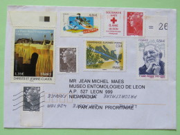 France 2010 Cover To Nicaragua - Marianne - Red Cross Haiti - Comics - Wolf - Map - Abbe Pierre - Christo Packing Bridge - France