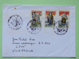France 2010 Cover Besancon To Nicaragua - Church Cancel - Christmas Santons Drum Sheep Costumes - France