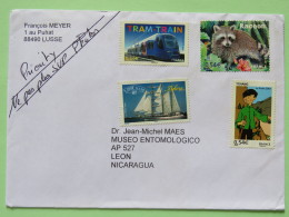 France 2011 Cover To Nicaragua - Train Tramway Racoon Ship Comics Tintin In Tibet Tchang - Frankrijk
