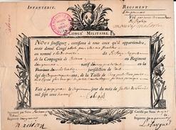 1719 - Régiment D'Infanterie D'ANGOUMOIS - CONGÉ MILITAIRE - PERPIGNAN (66) - Documents Historiques
