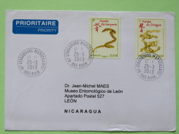 France 2013 Cover To Nicaragua - Year Of The Snake - Year Of The Dragon - France