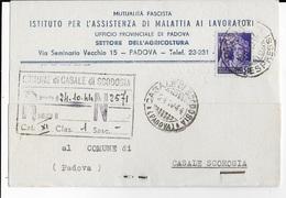 STORIA POSTALE R.S.I. - CARTOLINA POSTALE INTESTATA SANITA' DA PADOVA 19.10.1944  PER CASALE SCODOSIA - 4. 1944-45 Social Republic