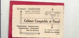 "CARTE DE VISITE "" NORBERT CHARTIER "" CABINET COMPTABLE Et FISCAL.22 Av A. BRIAND. SALINS-les-BAINS. JURA - France"