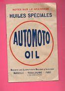Marseille Toulouse Paris  : Livret : Notes Sur Le Graissage AUTOMOTO OIL (PPP5735) - Publicités