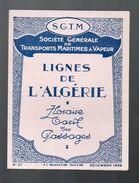 Algérie : Dépliant Tarif SGTM 1929 (PPP5738) - Monde