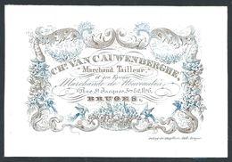 """Carte Porcelaine """" Van Cauwenberghe Tailleur Rue St Jacques 6 Bruges """" 9 X 6 Cm - Gent"""