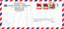 Taiwan Air Mail Cover Sent To Denmark 24-4-1987 (bended Cover) - 1945-... Republic Of China