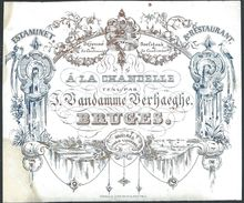 """Carte Porcelaine """" Vandamme Verhaeghe  Estaminet Restaurant  Bruges """" 13 X 11 Cm - Gent"""