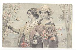 17194 - Art Nouveau Deux Jeunes Filles Avec Bouquet De Fleurs A& M B - Femmes